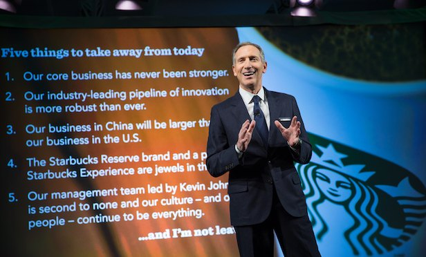 Howard Schultz making presentation