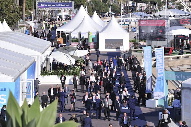 Exterior of conference area, showing attendees