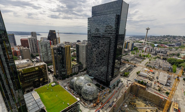 Aerial view of Amazon headquarters