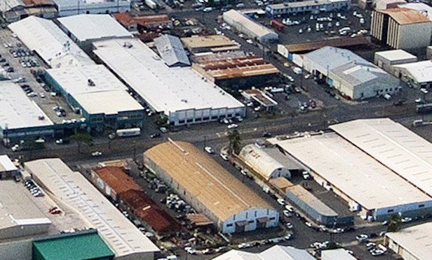 Aerial view of industrial properties