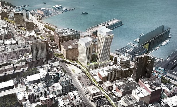 An aerial of The Eleventh mixed-use luxury project being built in West Chelsea.