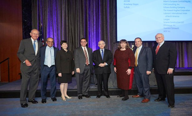 From left, Richard T. Anderson, Husam Ahmad, Jill N. Lerner, Cyrus Izzo, Anthony E. Shorris, Lisa Linden, Carlo A. Scissura and Christopher Larsen