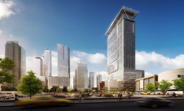 A rendering of the mixed-use tower to be built on property adjacent to Hudson Yards. Source: New York City Economic Development Corp.