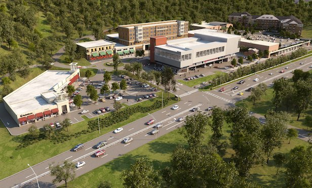 An aerial rendering of Rivertowns Square in Dobbs Ferry, NY.