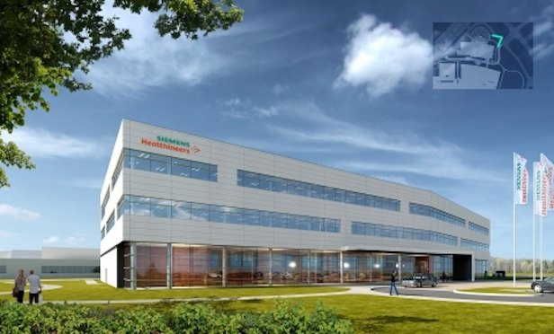Siemens broke ground last Friday on a major expansion of its Siemens Healthineers manufacturing and R&D facility for laboratory diagnostics in Walpole, MA. Pictured is a rendering of the future building. Credit: Siemens Healthineers