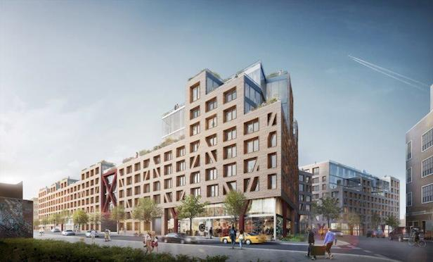 A rendering of All Year Management's mixed-use project at the former Rheingold Brewery in Brooklyn.