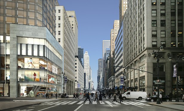 A rendering of the corner view of the 520 Fifth Ave. mixed-use tower.