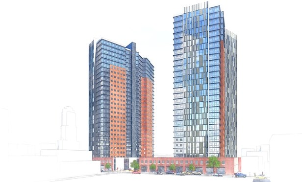 A rendering of the twin-tower project RXR is planning in Downtown New Rochelle, NY.