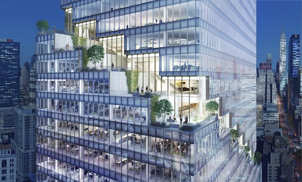 A rendering of Tishman Speyer's The Spiral office tower.