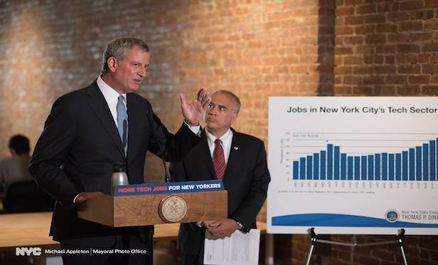 From left, New York City Mayor Bill de Blasio and New York State Comptroller Thomas DiNapoli. Credit: New York Mayoral Photo Office/ Michael Appleton