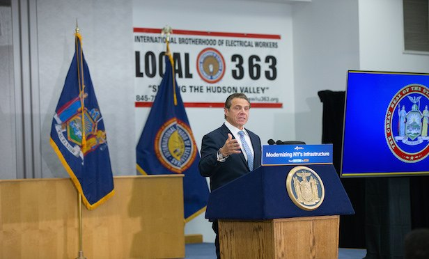 "At his speech at the International Brotherhood of Electrical Workers Local 363 facility in Harriman, Gov. Cuomo said that traffic on Route 17 by Woodbury Common has been a ""nightmare."""
