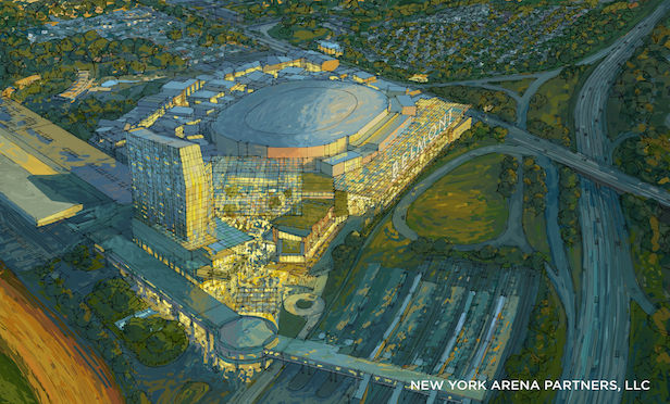 A rendering of the new arena at Belmont Park to be built for the New York Islanders.