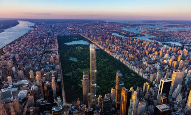 Central Park Tower will rise 1,550 feet high and will feature 179 luxury residences and a Nordstrom department store at its base. Credit: Extell Development Co.