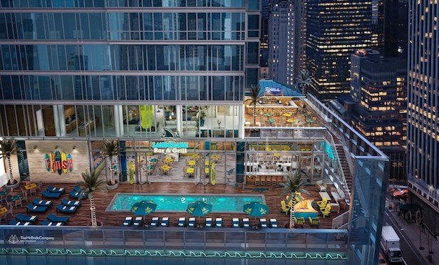 A rendering of the Margaritaville Resort to be built at 560 Seventh Ave. in Times Square.