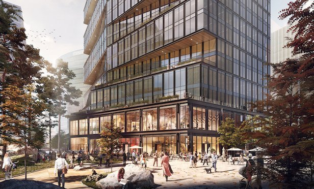 A rendering of Amazon's new building at Boston's Seaport development.