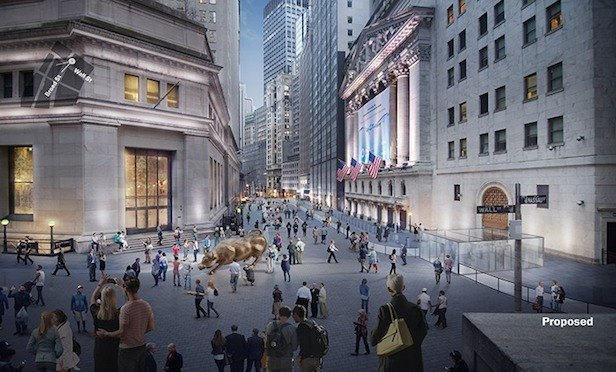 A rendering of an improved Stock Exchange District at Wall and Broad streets.