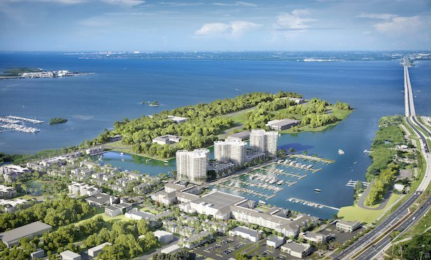An aerial view of the master-planned Westshore Marine District.