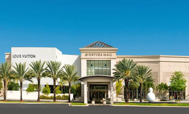 The 2.9-million-square-foot Aventura Mall features more than 300 retailers and is anchored by Nordstrom, Bloomingdale's and Macy's.