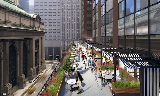 Work on a terrace looking out on Grand Central Station is expected to be completed by this October.