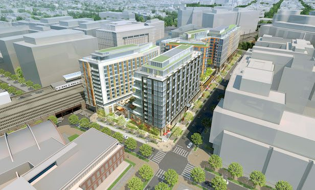 The 204-room The James Washington D.C. hotel is part of the Armature Works mixed-use project.