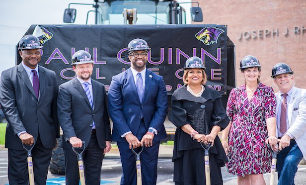Pictured at the groundbreaking are, from left, Victor Elmore, president, Texas Mezzanine Fund; Don J. Clevenger, Paul Quinn College Board Chair, SVP and CFO, Oncor; Dr. Michael J. Sorrell, president, Paul Quinn College; Bishop Vashtai Murphy McKenzie, 10th Episcopal District, African Methodist Church; Betsy Healy, associate director, Simmons Foundation; Trammel S. Crow, founder of EarthX.
