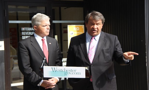 From left, Suffolk County Executive Steve Bellone and Westchester County Executive George Latimer