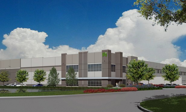 A rendering of a building at First Aurora Commerce Center.