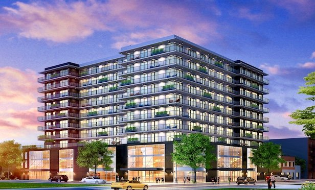 A rendering of the redeveloped residential condo project at 1049 Washington Ave. in the Bronx.