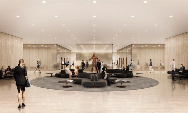 A rendering of the improved lobby at the Grace Building.
