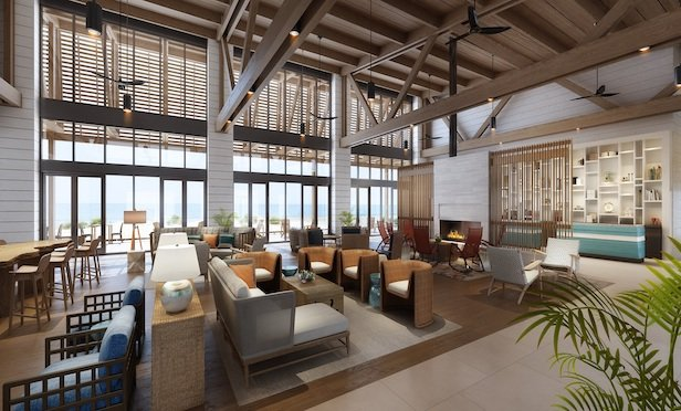 The lobby of the Lodge at Gulf State Park, A Hilton Hotel in Gulf Shores, AL.
