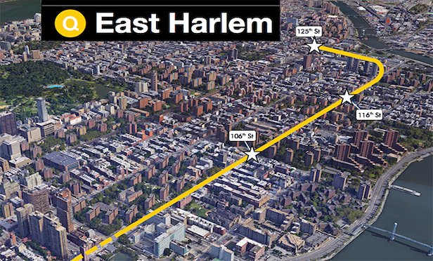 Phase two will extend train service from the Second Avenue Subway's northern terminus at the 96th Street station on the Upper East Side to East Harlem. There will be new stations at 106th Street and 116th Street on Second Avenue and 125 Street at Park Avenue. Credit: MTA