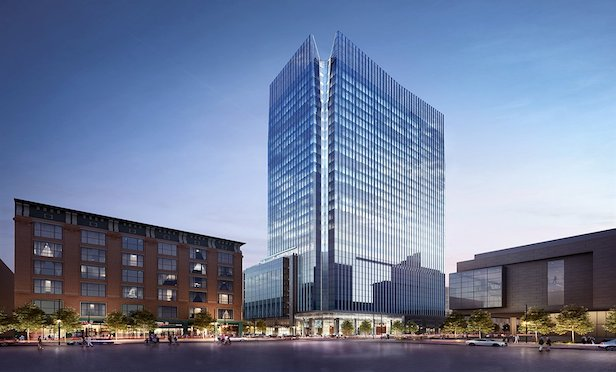 A rendering of Block 162. Construction on the 30-story speculative office building began in June.