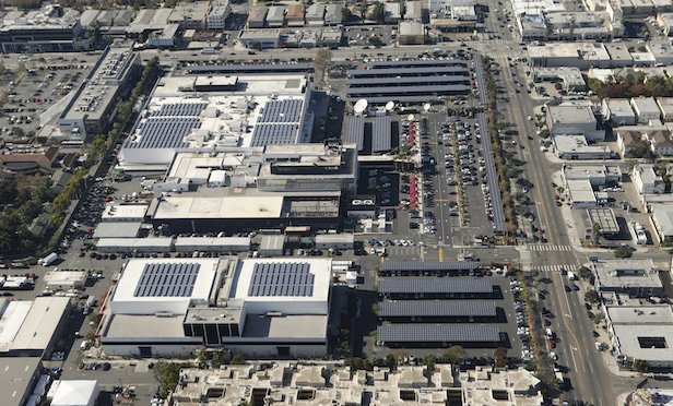 Aerial photo of CBS Television City in Hollywood, CA. Photo: Monty Brinton/CBS ©2016 CBS Broadcasting, Inc.