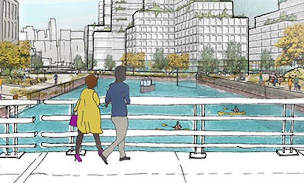 A rendering of a Gowanus canal bridge crossing with waterfront development and pedestrian activity . Source: New York City Department of Planning