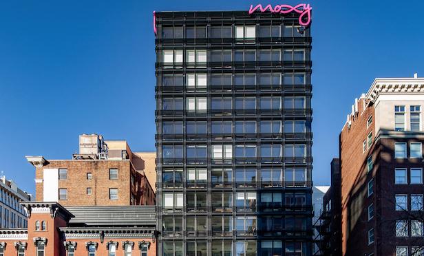 The 14-story Moxy hotel in Washington, DC opened in November 2018.