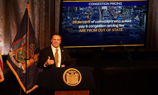 Gov. Andrew Cuomo pressed for approval of his congestion pricing plan at a speech before the Association for Better New York on Thursday at the New York Hilton Midtown.