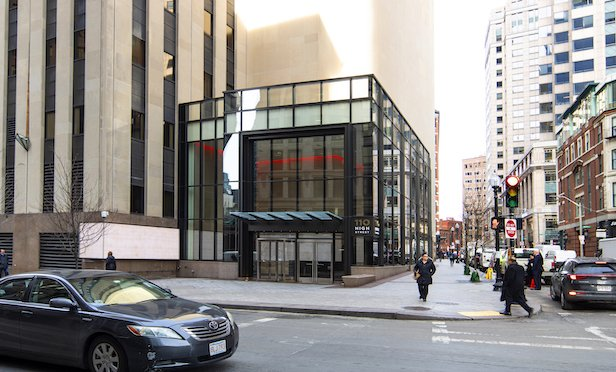 The new lobby at 110 High St., part of 50 Post Office Square, is complete.