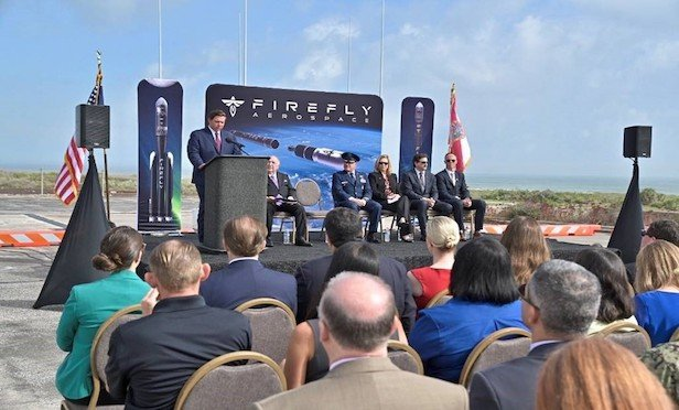 Florida Gov. Ron DeSantis addresses the attendees at the Firefly Aerospace press conference at Cape Canaveral on Friday.