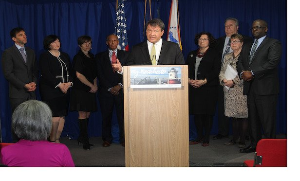 Westchester County Executive George Latimer led the press briefing that also included county government officials as well as the mayors of the cities of New Rochelle and White Plains.