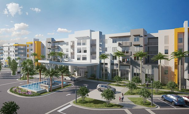 A rendering of the multifamily component of Uptown Boca.