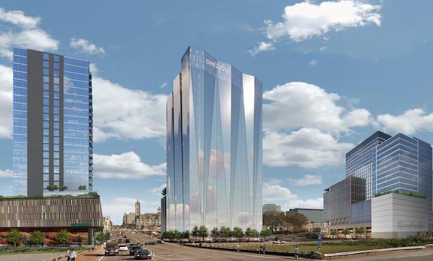 A rendering of the planned office tower at 1221 Broadway in Nashville, TN.
