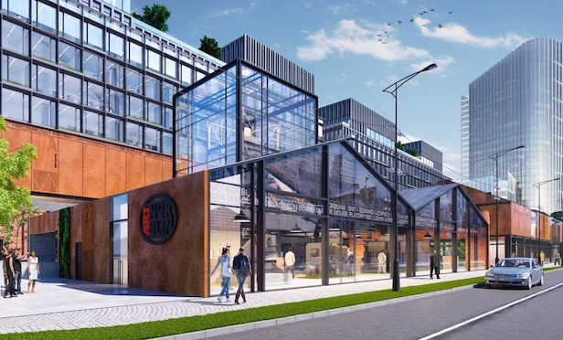 A rendering of the Norblin factory redevelopment project in Warsaw, Poland.