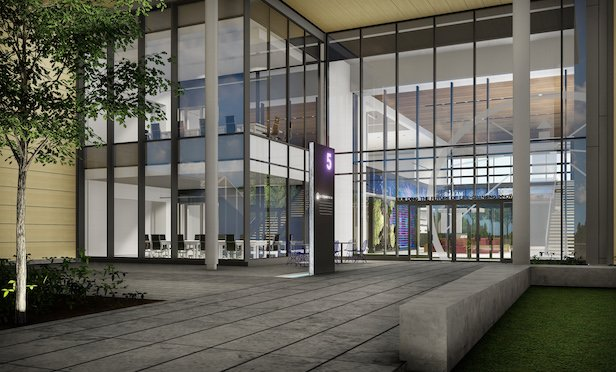 A rendering of the entrance to the Alexandria Center® for AgTech -Research Triangle at 5 Laboratory Drive.