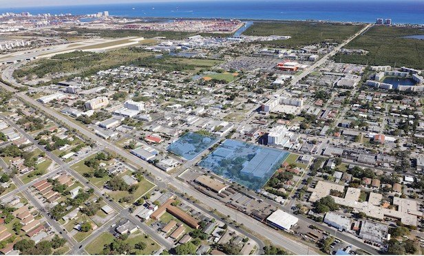 An aerial of the Dania Beach development site.