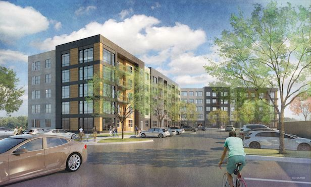 Rendering of the multifamily project to be developed by a partnership of the RPW Group of Rye, NY and NRP Group of Cleveland.