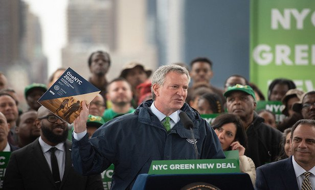 Mayor Bill de Blasio announced New York City's Green New Deal at Hunter's Point South Park on Monday. Credit:. Michael Appleton/Mayoral Photography