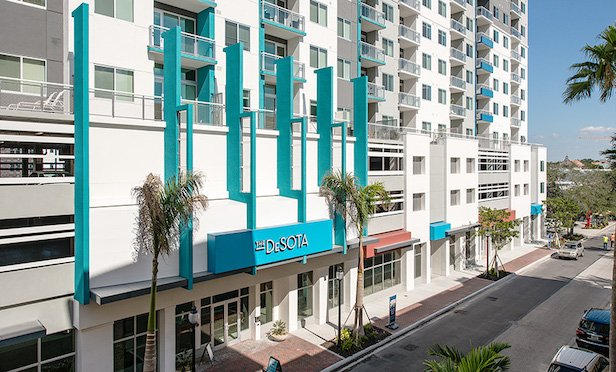 The 180-unit The DeSota mixed-use development in Sarasota was completed in 2017.