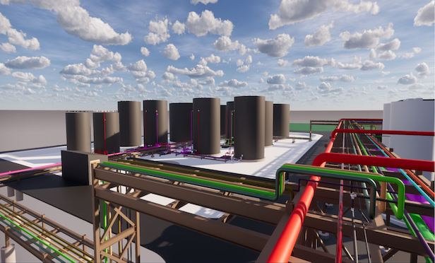 A rendering of the nation's first commercial-scale plastics to fuel plant in Ashley, IN.