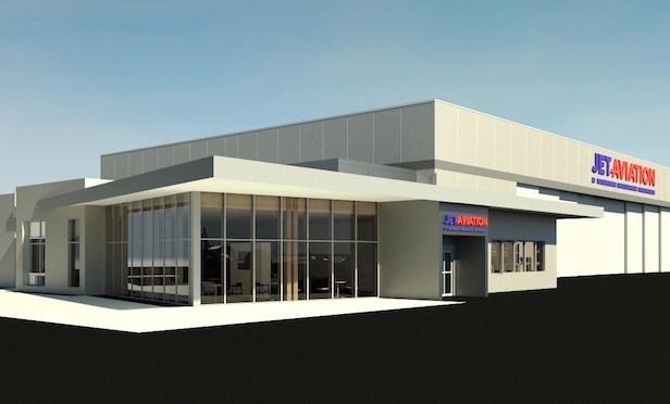 An artist's rendering of Jet Aviation's future FBO hangar facility in Scottsdale, AZ.