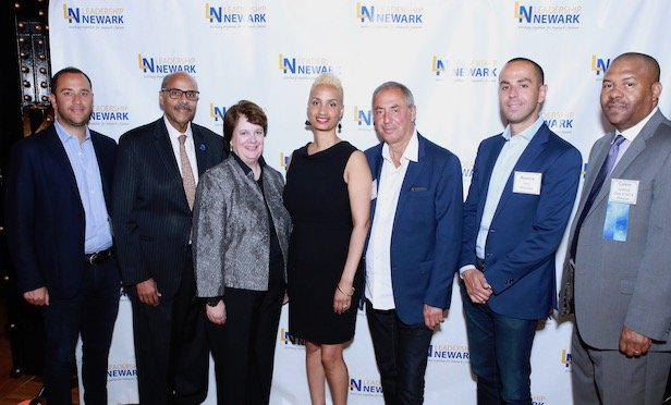 Pictured at Leadership Newark's 21st Anniversary Gala reception are from left to right: Maurice Levy, chief operating officer, Paramount Assets; Eric Pennington, business administrator, City of Newark; Kathy Ahearn-O'Brien, executive director, Hyacinth AIDS Foundation; Aisha Glover, president & CEO, Newark Alliance; Solomon Levy, chairman, Paramount Assets; Ronnie Levy, CEO, Paramount Assets and Calvin Ledford, regional public affairs director, PSEG. Photo Credit: Larry Long, Photos Unlimited